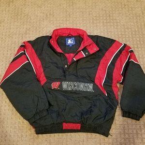 Vtg Wisconsin Badgers Starter Jacket 90s Black Lg